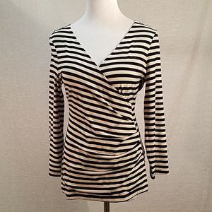 Banana Republic Wrap Top Black and Tan